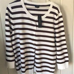 NWT Talbots cardigan- white/chocolate striped